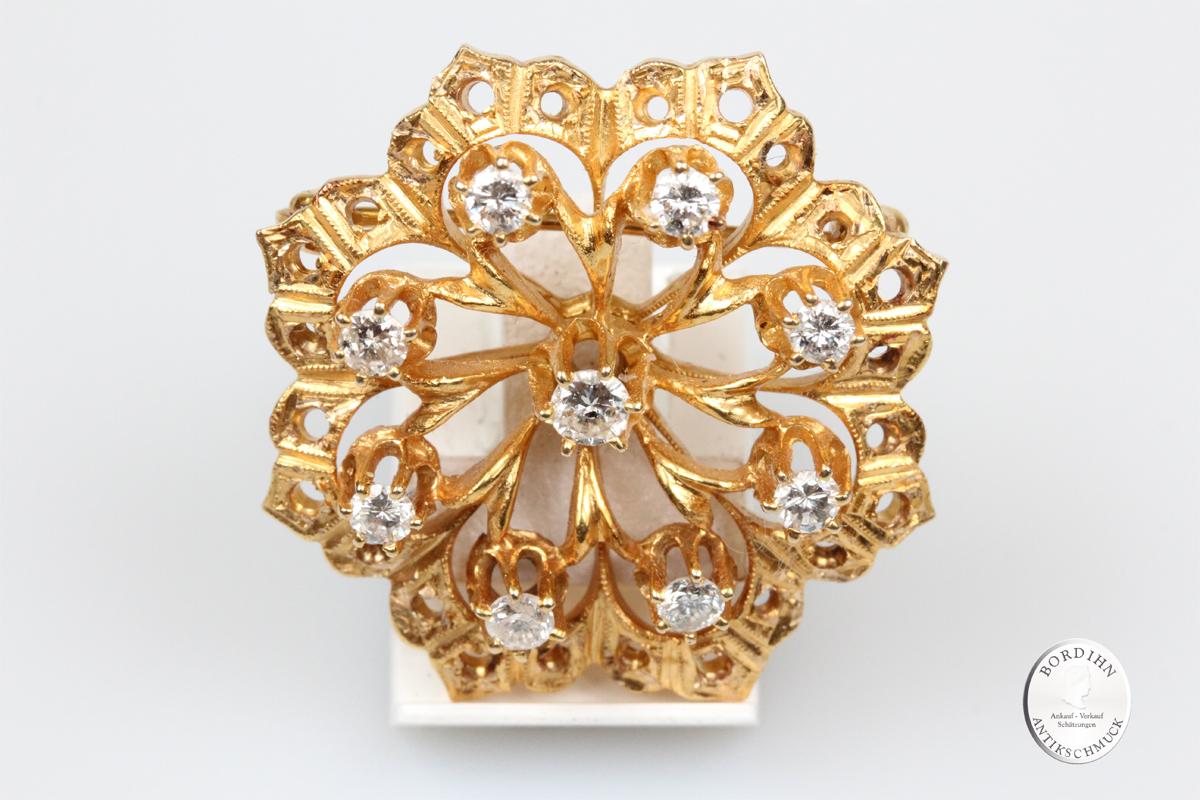 Brosche 18 Karat Gold Diamanten Goldschmuck Edelsteine Damen Geschenk
