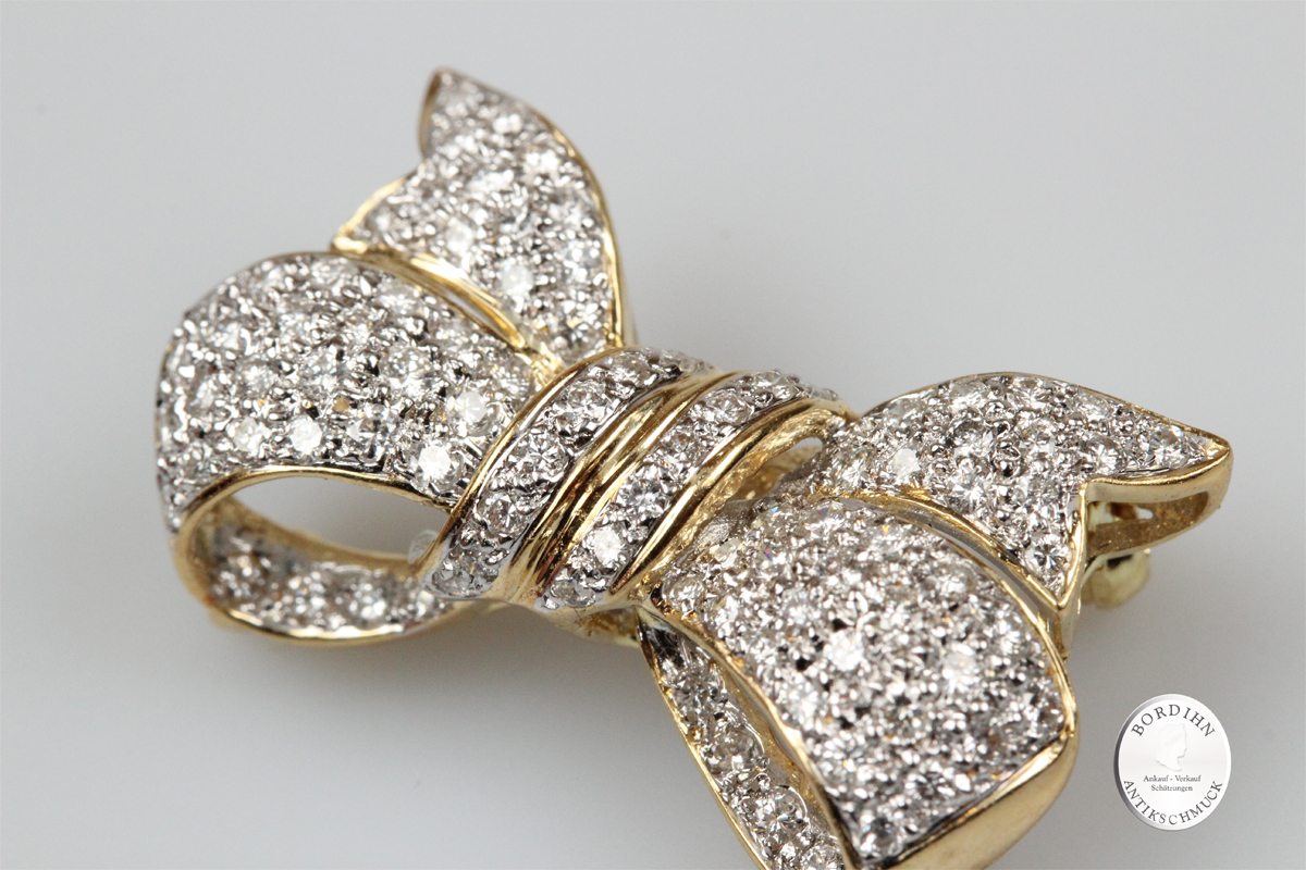 Brosche 18 Karat Gold Brillanten Schmuck Anstecknadel Diamanten Damen