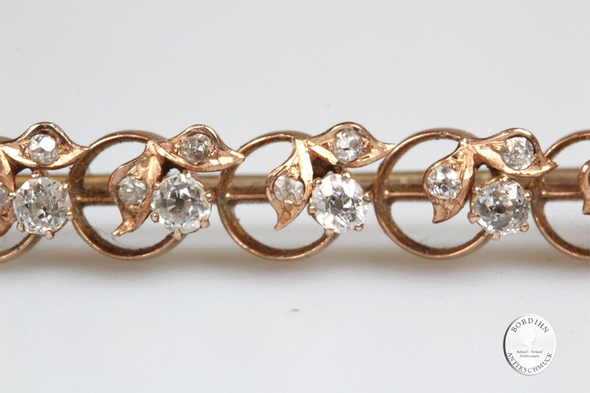 Brosche 14 Karat Gold Diamanten Antikschmuck Goldschmuck Edelsteine