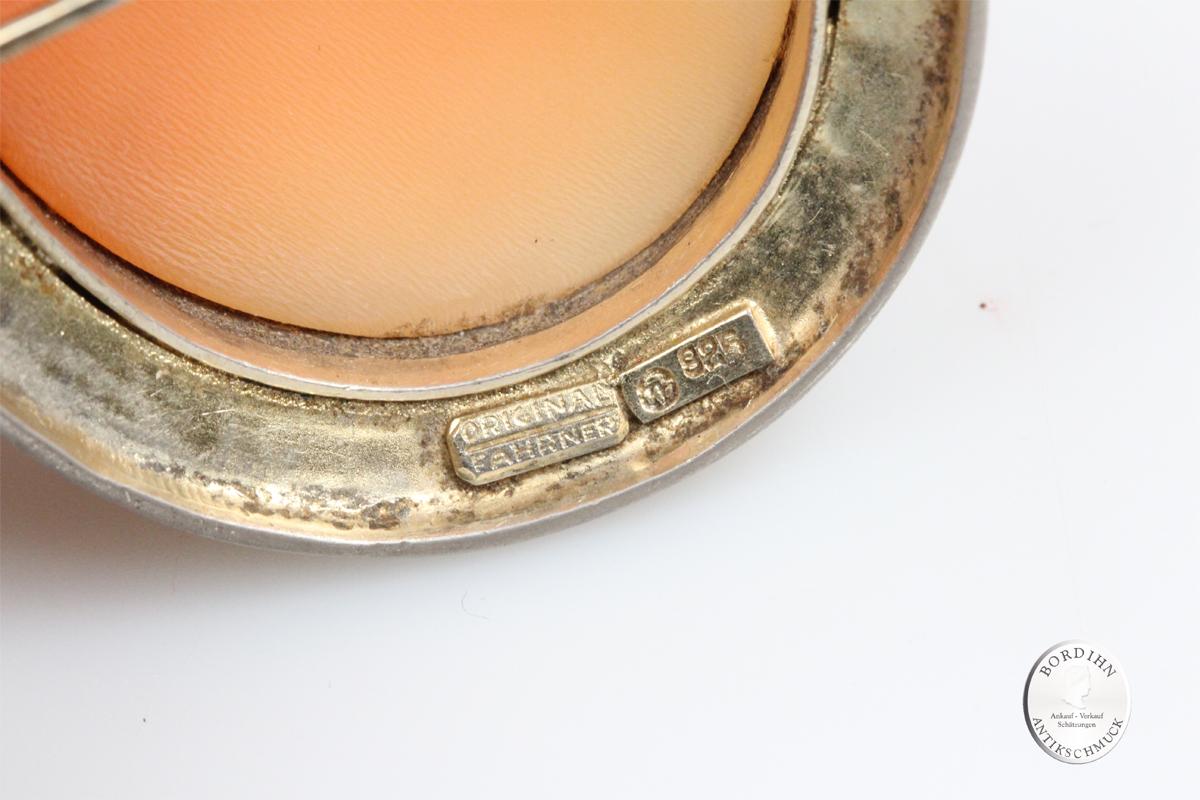 Brosche 925 Silber Gemme Fahrner Schmuck signiert guillochiert antik