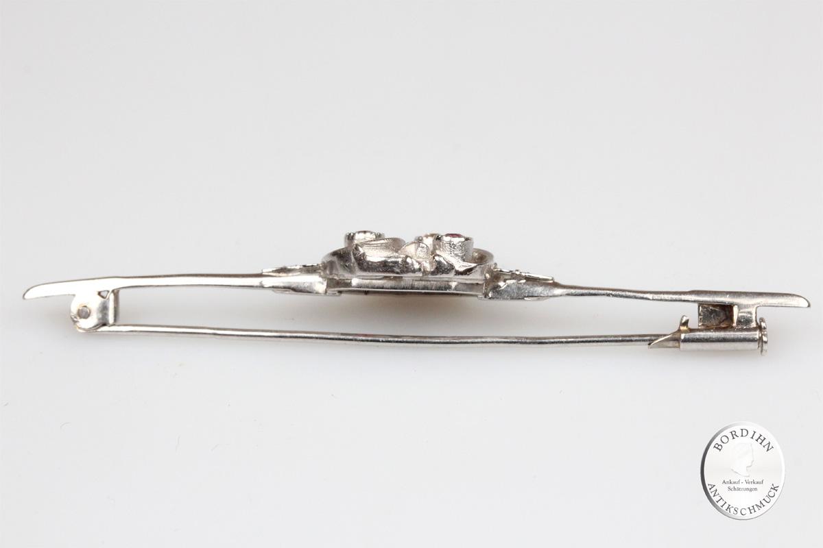 Brosche 14 Karat Gold 2 Rubine 1 Diamant antik Schmuck Nadel Damen