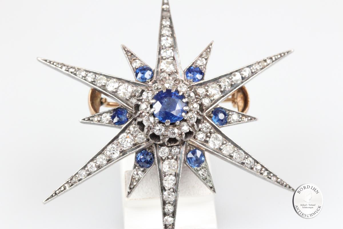 Brosche 14 Karat Gold Stern Saphir Diamant Antik Schmuck Antikschmuck