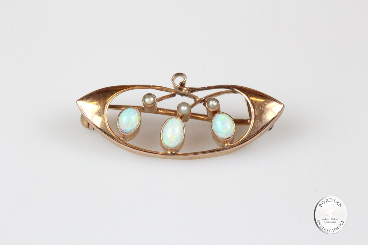 Brosche 8 Karat Gold Opal Perle antik Schmuck Edelstein Damen Geschenk