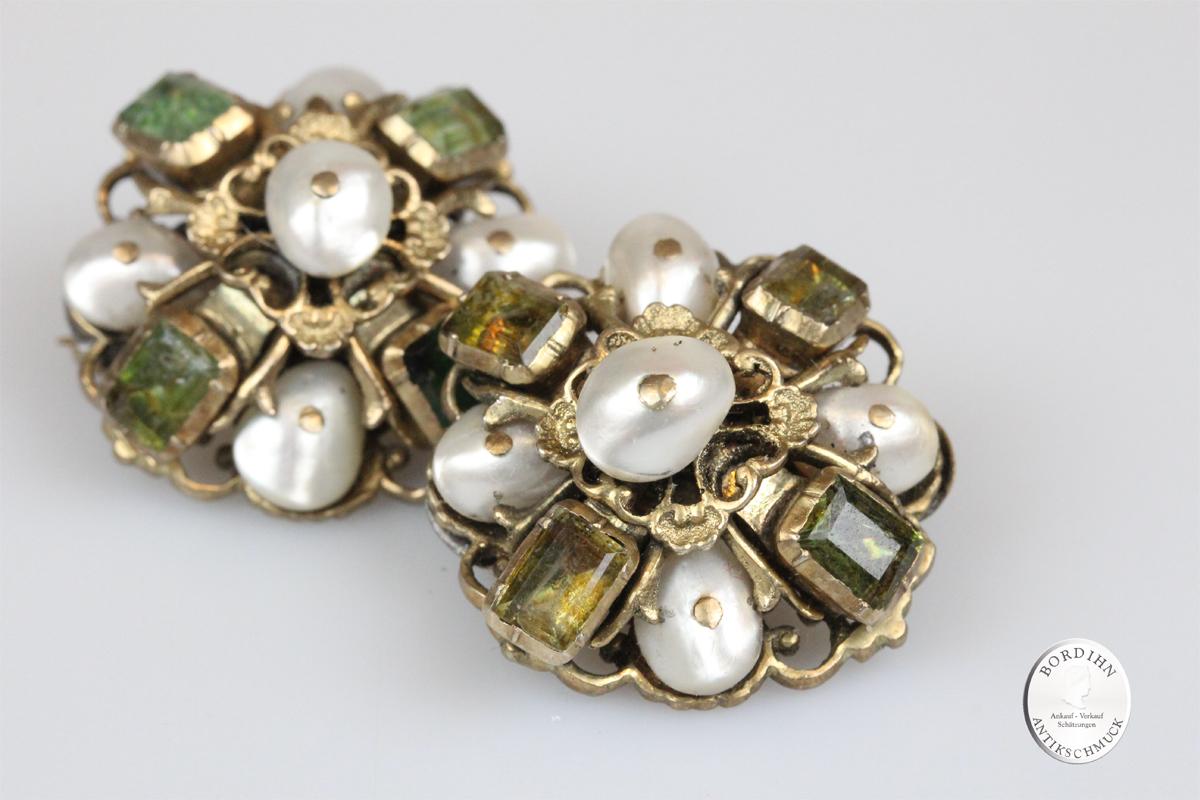 Broschen 1 Paar Antik Silber vergoldet Barock Smaragd Perlen Schmuck