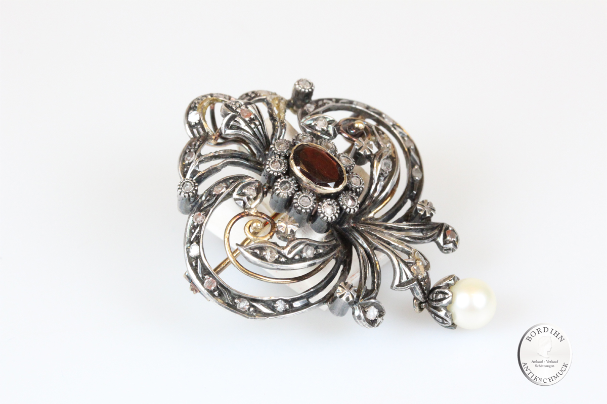 Brosche Silber vergoldet Granat Moissanite Perle Anhänger Schmuck