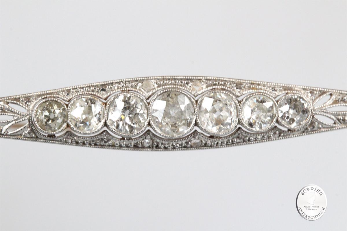 Brosche 18 Karat Gold Platin Diamanten antik Edelsteine Schmuck Damen