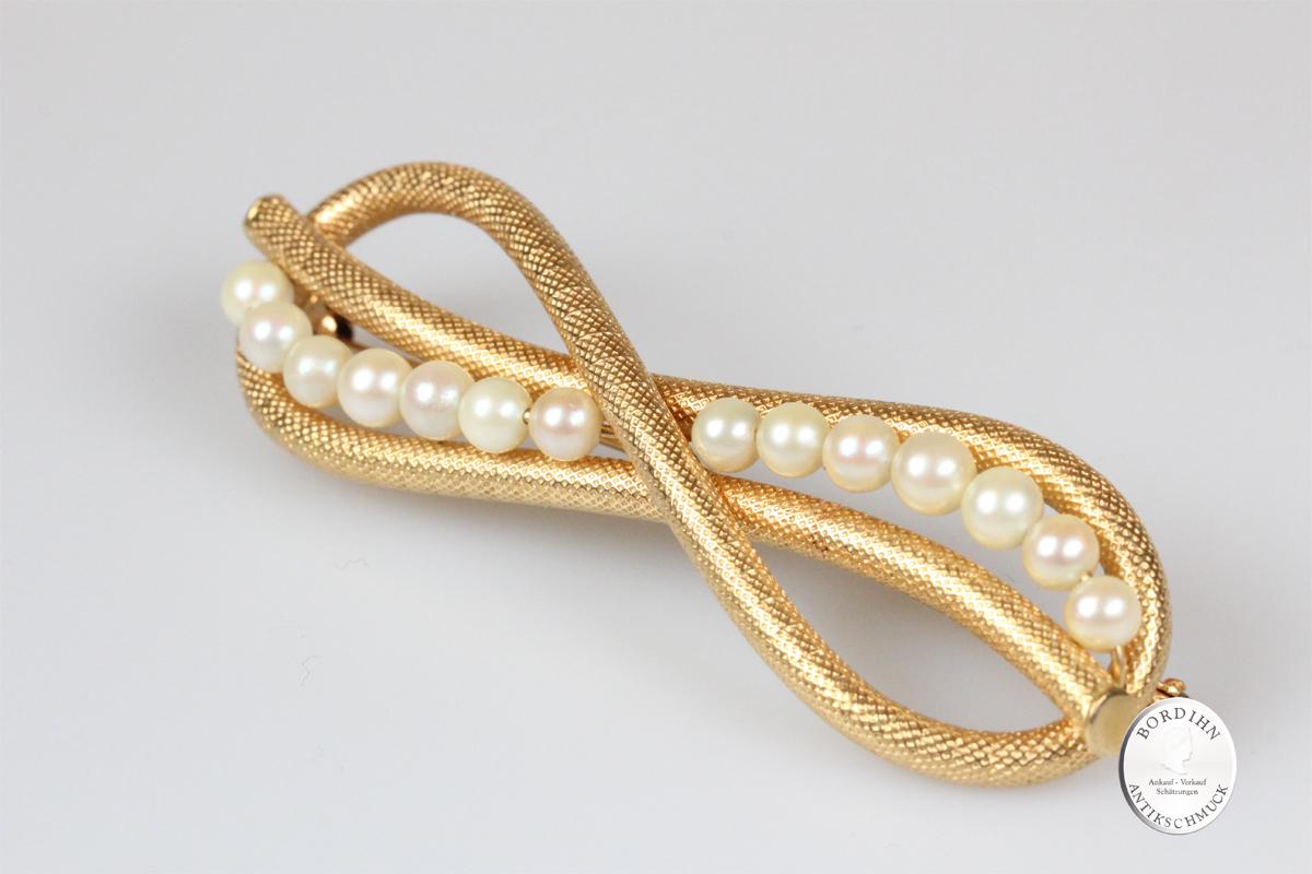 Brosche 18 Karat Gold 14 Perlen Goldschmuck Nadel Damen Geschenk