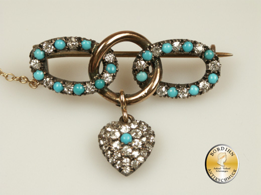 Brosche Diamant und Türkis 18 Karat Gold Jugendstil antik Goldschmuck
