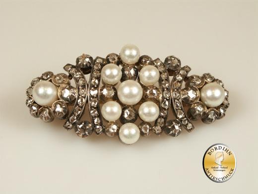 Brosche 14 Karat Gold Diamant Perlen antik um 1860 Goldschmuck Damen