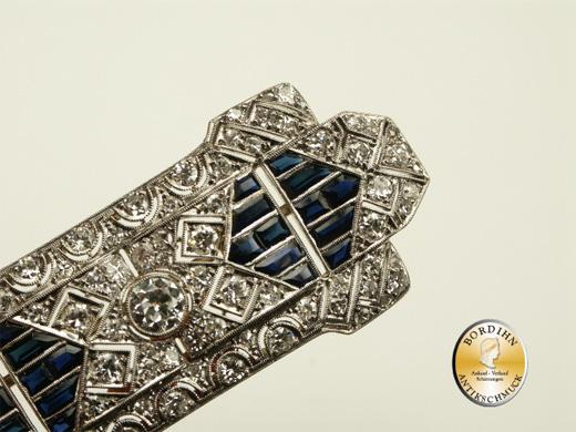 Brosche Platin Brillanten Saphir Art-Deco antik Schmuck Damen Geschenk