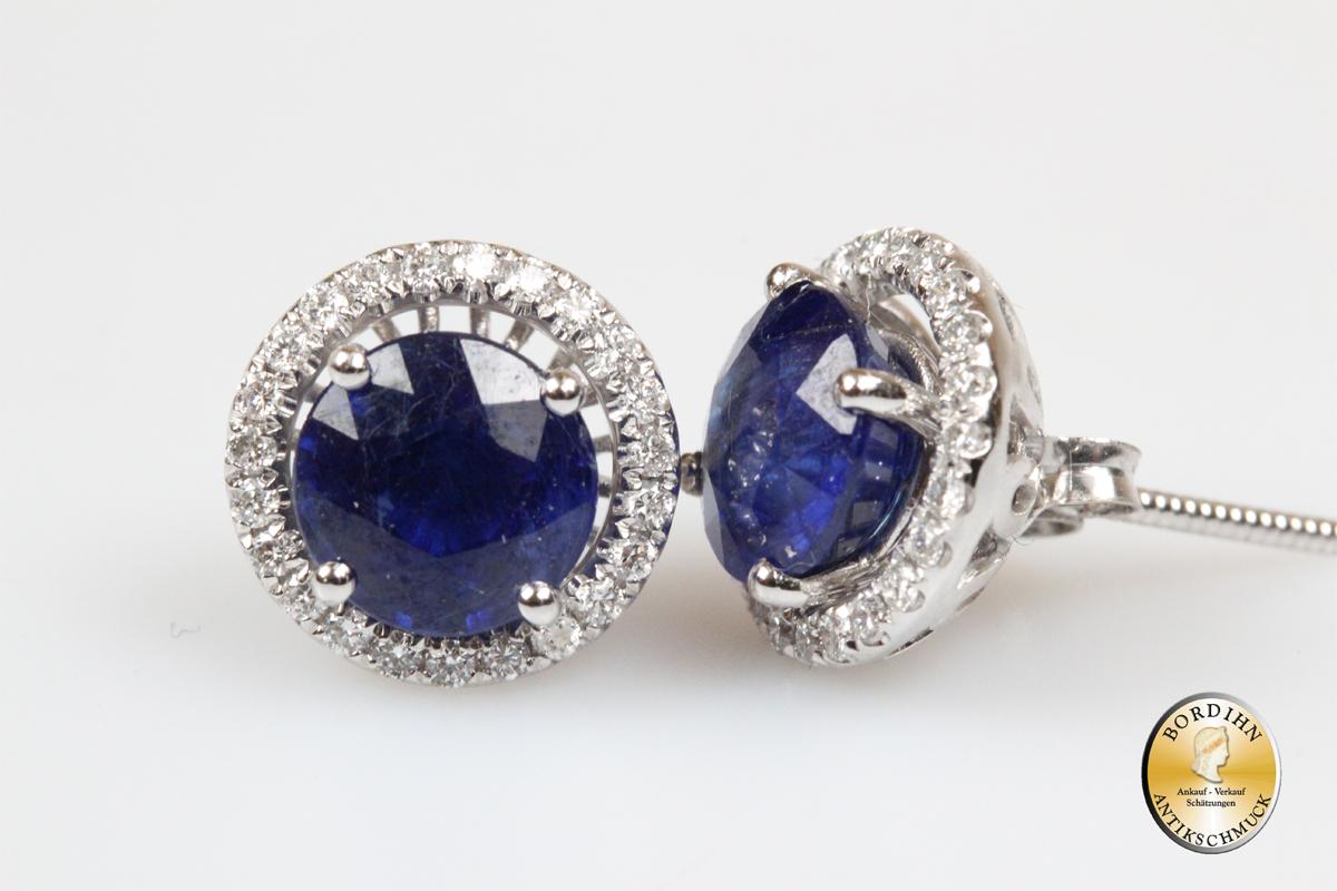 Ohrring Ohrstecker 585 Gold Safir Diamanten Brillanten Ohrschmuck neu