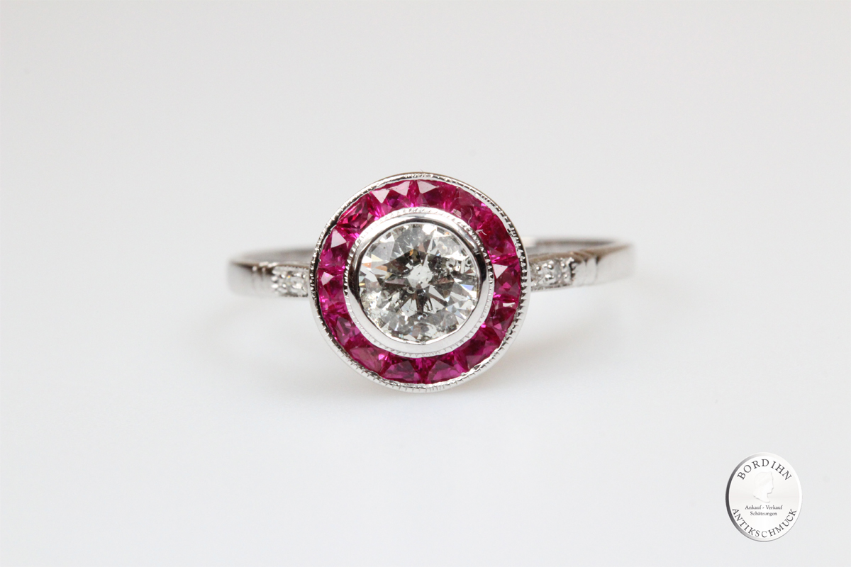 Ring 18 Karat Weissgold Diamant Rubin Fingerring Schmuckring Geschenk
