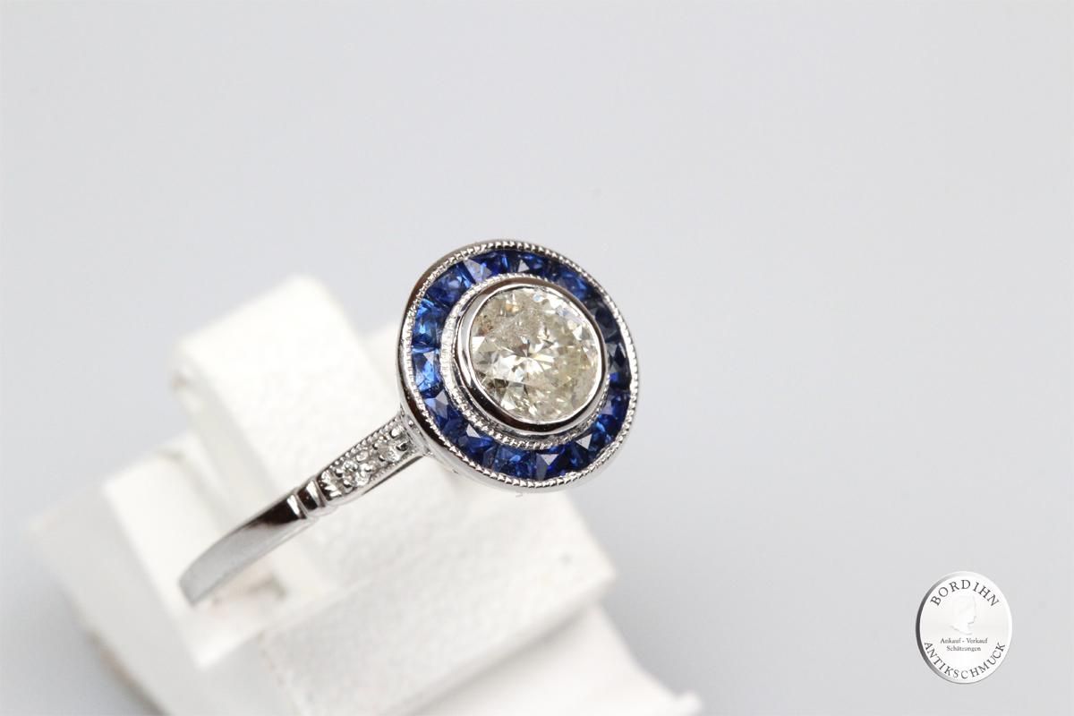 Ring 18 Karat Weissgold Diamant Saphir Fingerring Schmuckring Geschenk