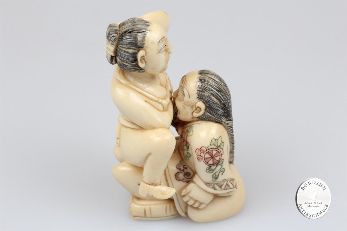 Figur Mammut Elfenbein Erotica Mann Frau Erotik Skulptur zweigeteilt