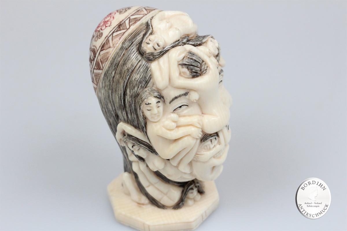 Erotika Skulptur Mammut Elfenbein Figur Kopf sexuelle Darstellung