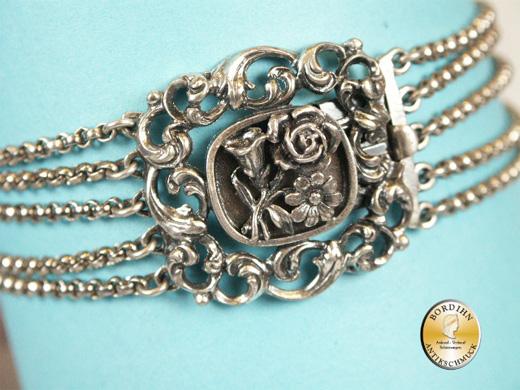 Trachtencollier; 830 Silber, 5 Stränge, Rosenschlisse
