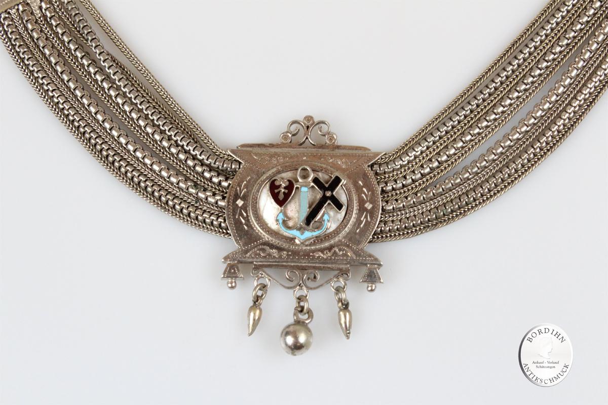 Uhrkette versilbert Glaube Liebe Hoffnung Kette Schmuck Tracht antik