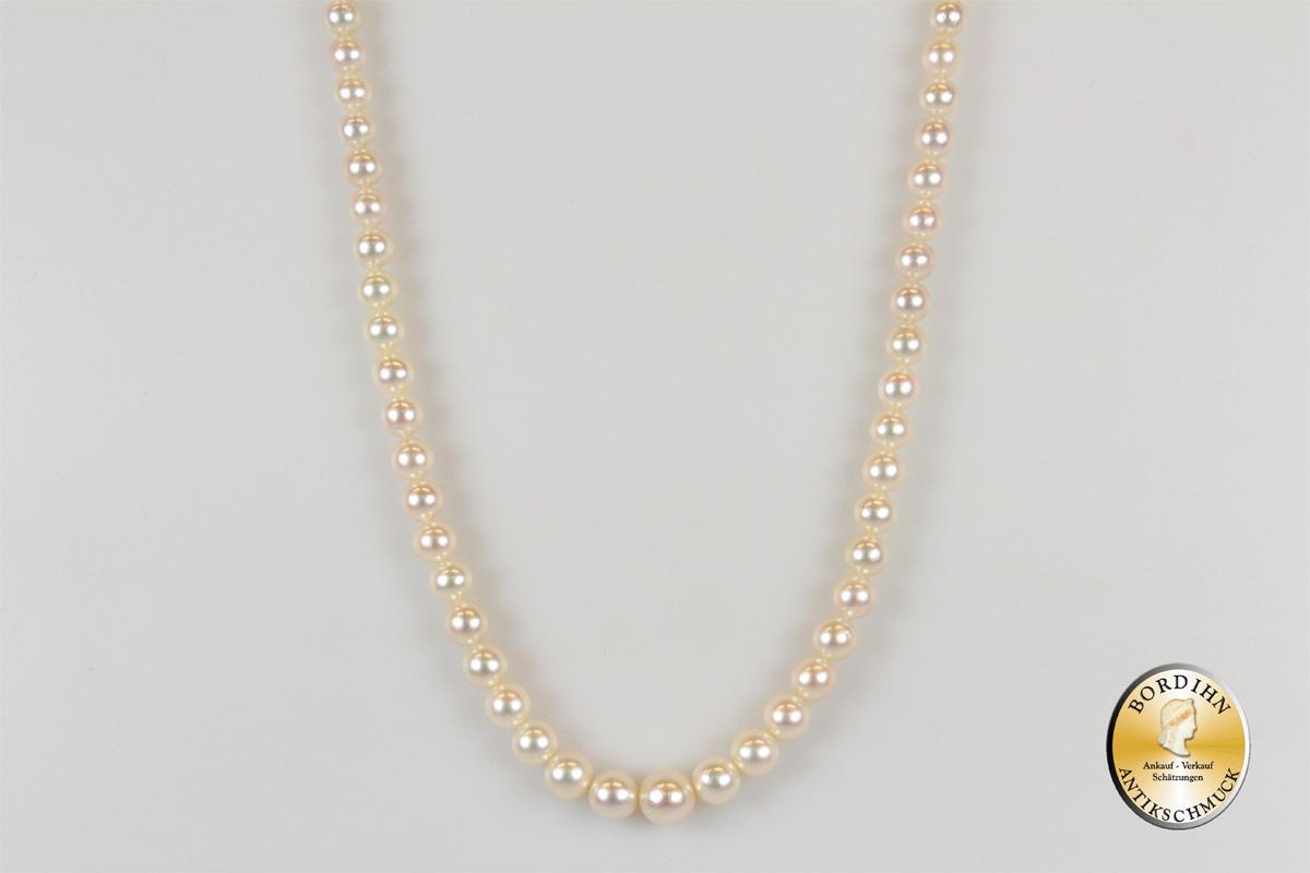 Halskette Perlkette Schloß 14 Karat Gold Perlen Schmuck Damen Geschenk