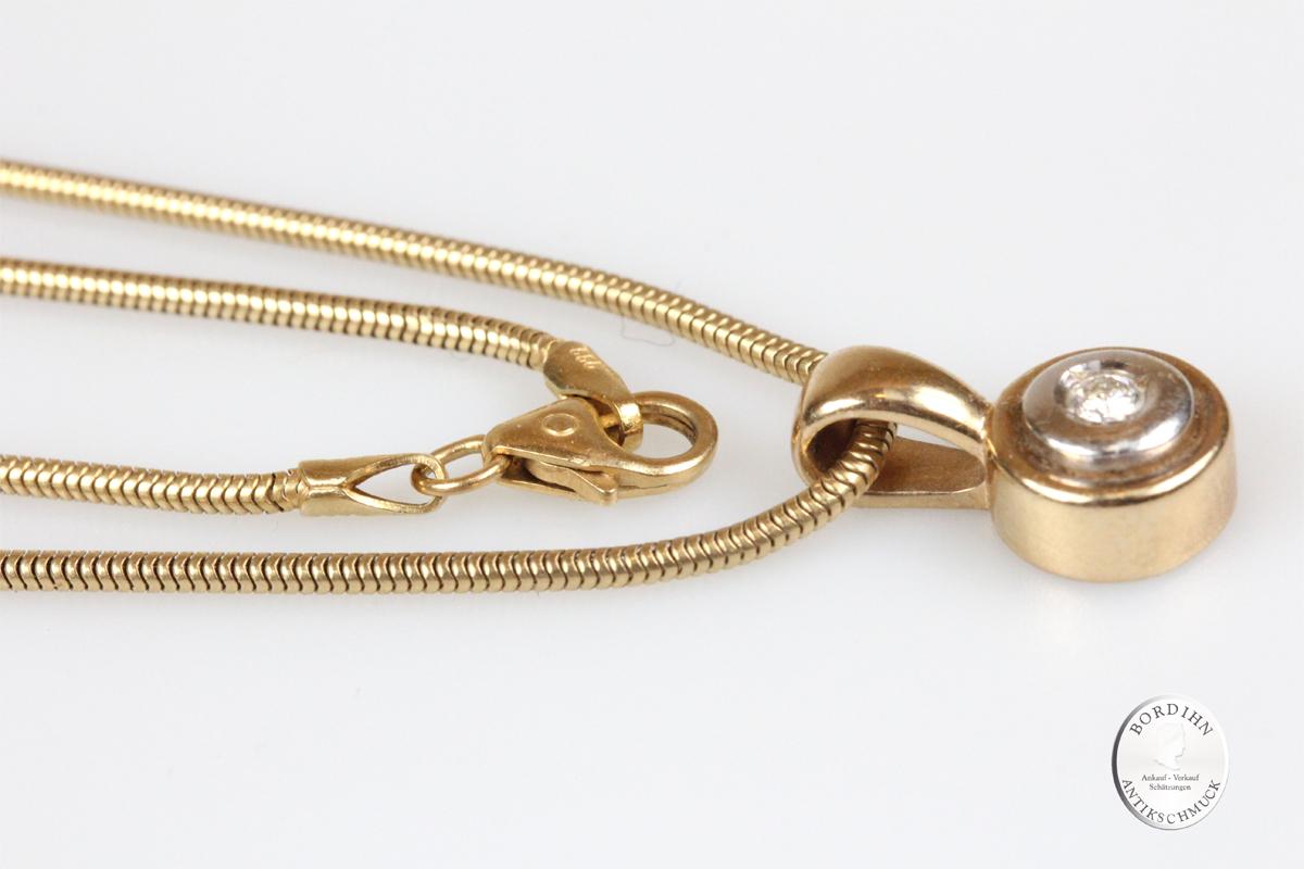 Collier Anhänger 14 Karat Gold mit Kette Brillant Goldschmuck Diamant