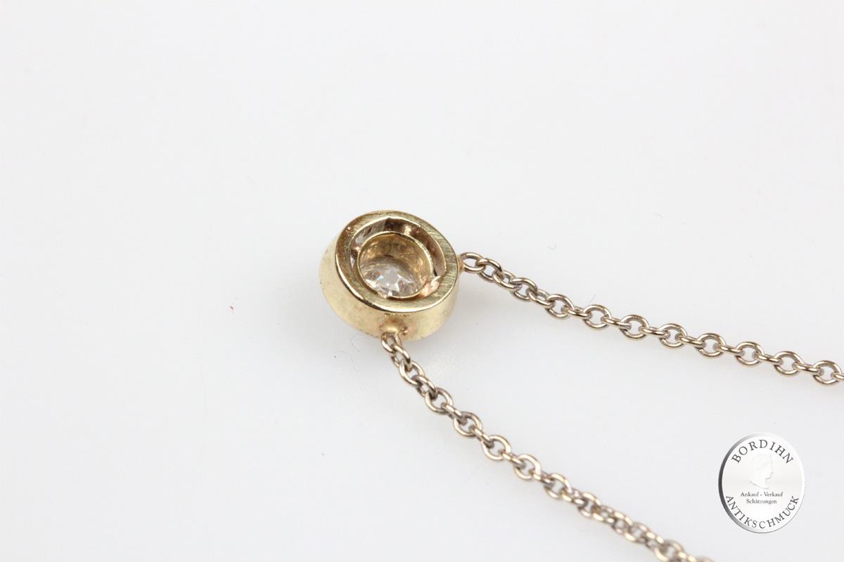 Collier 18 Karat Gold mit Diamant Halskettchen Brillant Schmuck Damen