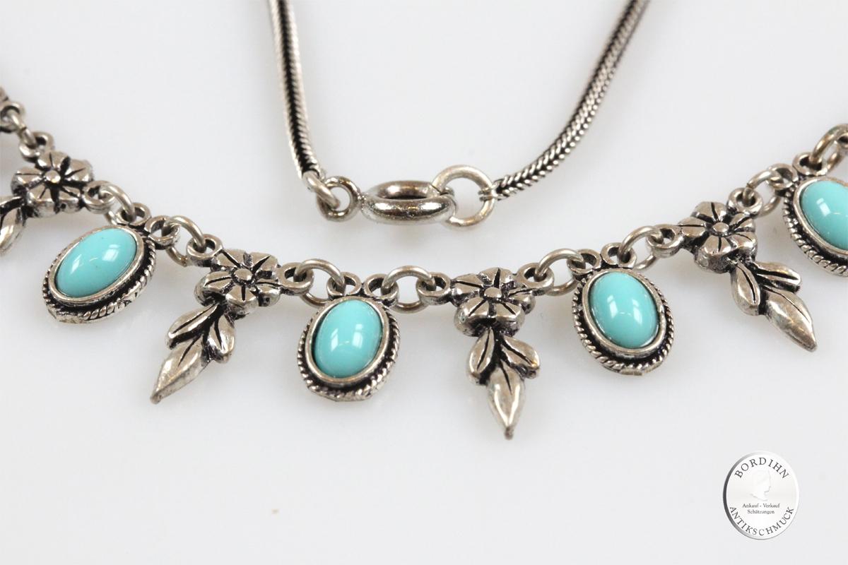 Collier Silber mit Türkis Antik Schmuck Kette Edelstein Damen Geschenk