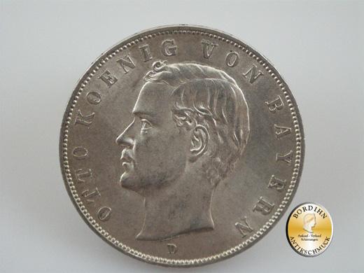 Silbermünze; Kaiserreich, Drei Mark Bayern, Otto 1908 D