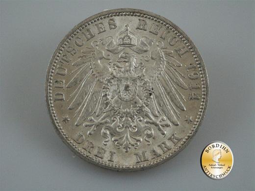 Silbermünze; Kaiserreich, Drei Mark Württemberg, Wilhel