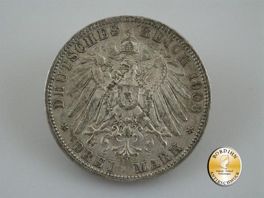 Silbermünze; Kaiserreich, Drei Mark Preussen Wilhelm II