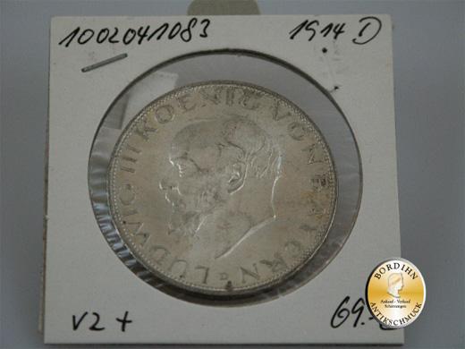 Silbermünze; Kaiserreich, 3 Mark, Bayern, Ludwig III