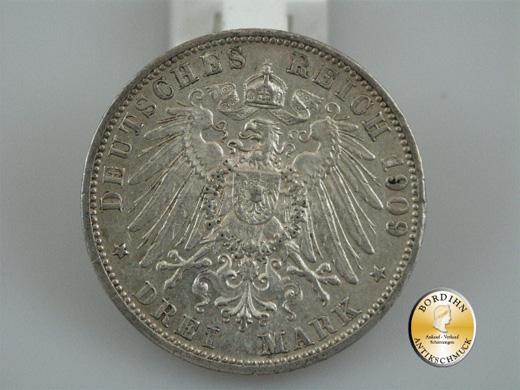 Silbermünze; Kaiserreich, Drei Mark Baden, Friedrich II