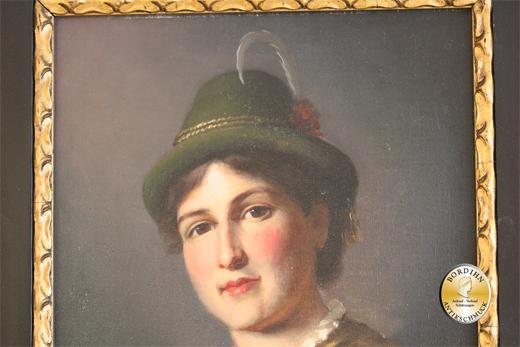 Ölbild; signiert, Bäuerin in Tracht, Öl auf Leinwand, um 1920
