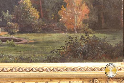 Ölbild; unsigniert, Burg im Prager Park (K&K  Monarchie) um 1880