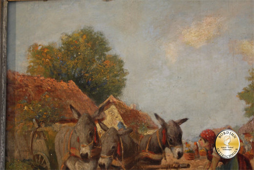 Ölbild; signiert, Eselkarren mit Bäuerin, Öl auf Holz, um 1920