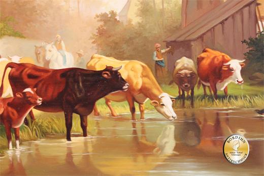 Ölbild Lehmann Kühe am Wasser Öl auf Holz Ölgemälde Kunst um 1980