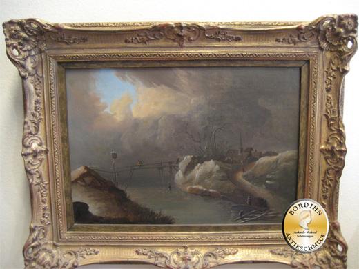 Ölgemälde unsigniert Winterlandschaft um 1880 Öl auf Leinwand Ölbild