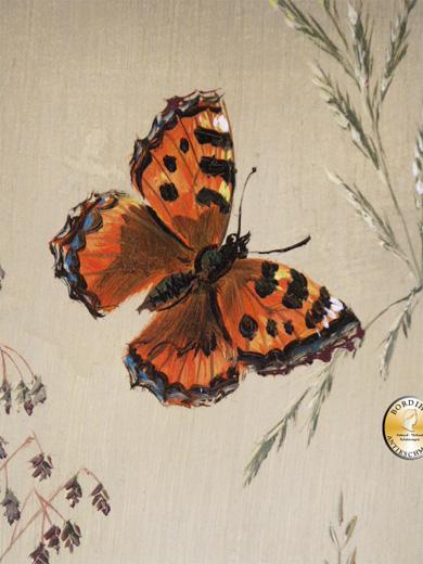 Ölbild; Schürer, drei Disteln mit Schmetterling, signiert