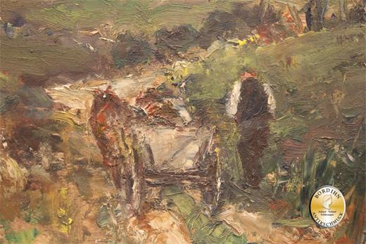 Ölbild Biermaier signiert Bauer mit Pferdegespann Heimweg Ölgemälde