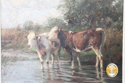 Ölbild Johann Daniel Holz Öl auf Leinwand Kühe am Wasser Gemälde
