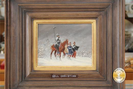 Ölbild; Christian Sell, Schlachtenmalerei, Öl auf Holz