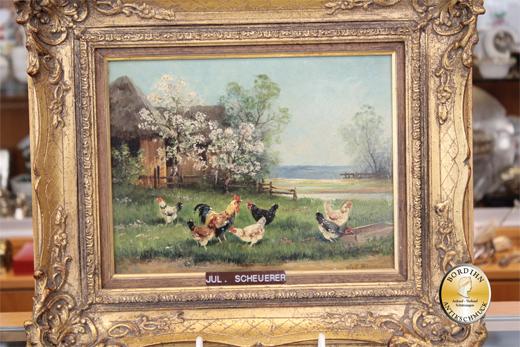 Ölbild Julius Scheurer Hühnerhof Öl auf Holz München Ölgemälde Kunst