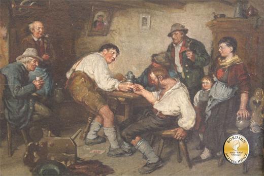 Ölbild Joseph Machold Fingerhakeln im Wirtshaus Öl auf Holz Ölgemälde