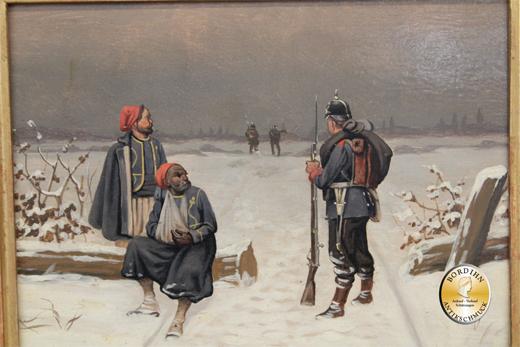 Ölbild Christian Sell Schlachtenmalerei Öl auf Holz Düsseldorf Kunst