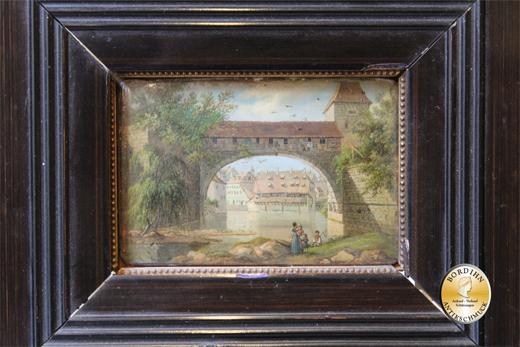 Ölbild Maler unbekannt Brücke mit Menschen am Fluss Ölgemälde Kunst