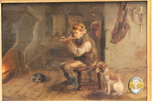 Ölbild Meno Mühlig Jäger mit Hund und Feuer Dresden Ölgemälde Kunst