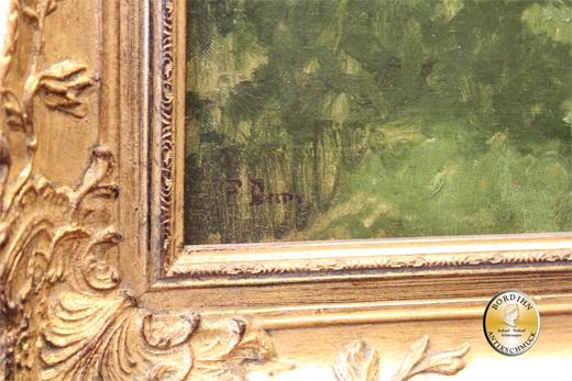 Ölbild Fritz Baer Kuh auf Waldlichtung geboren 1850 München Ölgemälde
