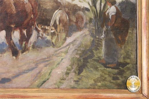 Ölbild; Stuhlmüller, Ochsenkarren mit drei Personen (Studie) um 1900
