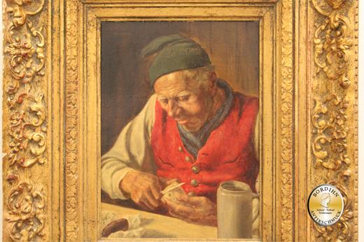 Ölbild Fritz Müller Rettichschneider Öl auf Holz Ölgemälde Kunst 1900