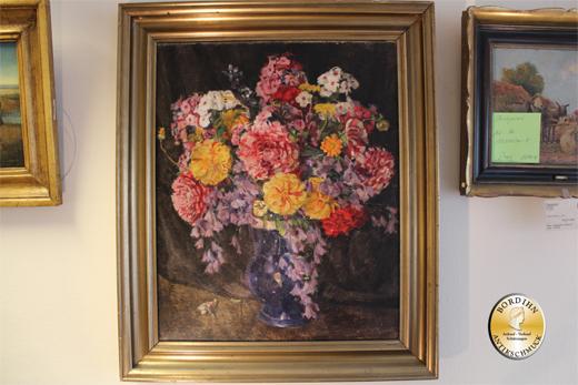Ölbild C. Eggers um 1830 Blumenstrauss Öl auf Leinwand Ölgemälde Kunst