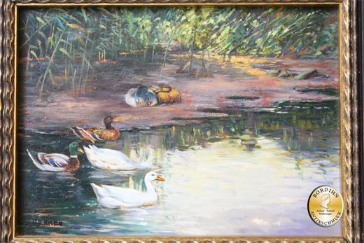 Ölbild; Krämer, Motiv Enten