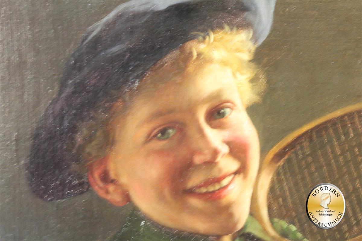 Ölbild Emil Rau Genre Maler Mann mit Tennisschläger Ölgemälde Kunst